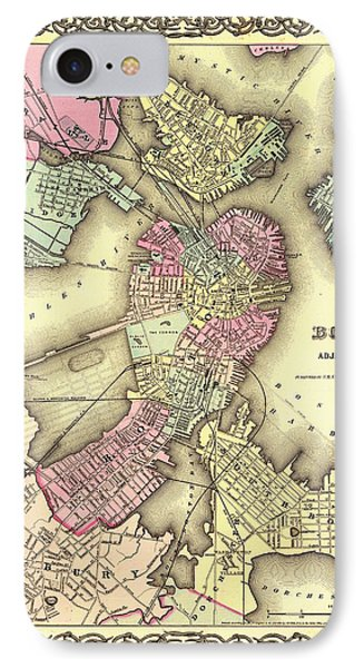 Antique Map Of Boston 1855 IPhone Case by Mountain Dreams