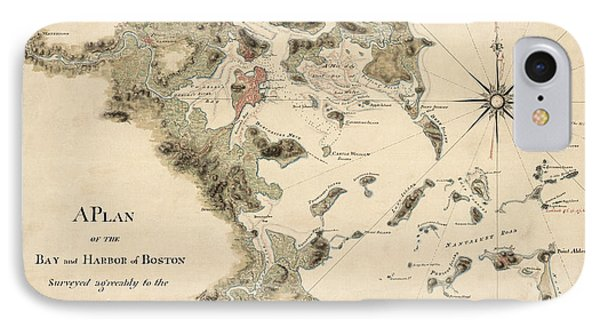 Antique Map Of Boston Harbor By Thomas Wheeler - Circa 1775 IPhone Case by Blue Monocle