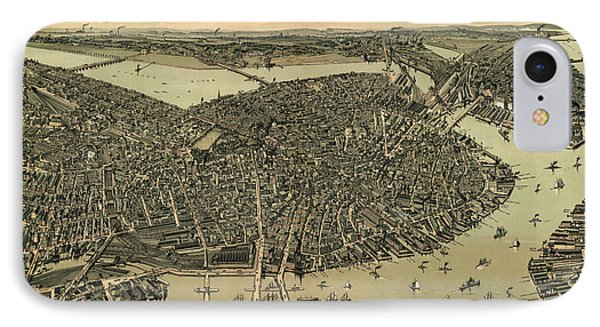 Antique Map Of Boston Massachusetts By A.e. Downs - Circa 1899 IPhone Case