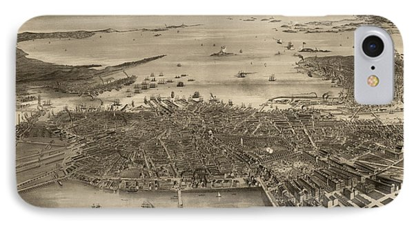 Antique Map Of Boston Massachusetts By F. Fuchs - 1870 IPhone Case