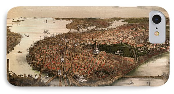 Antique Map Of Boston Massachusetts By John Bachmann - Circa 1877 IPhone Case by Blue Monocle