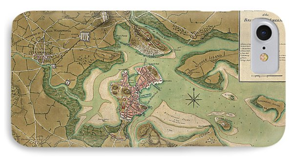 Antique Map Of Boston Massachusetts By Thomas Hyde Page - 1776 IPhone Case by Blue Monocle