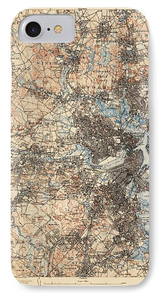 Antique Map Of Boston - Usgs Topographic Map - 1903 IPhone Case