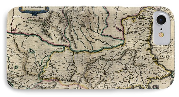 IPhone Case featuring the drawing Antique Map Of Bulgaria Romania And Serbia By Willem Janszoon Blaeu - 1647 by Blue Monocle