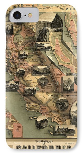 Antique Map Of California By E. Mcd. Johnstone - 1888 IPhone Case