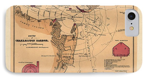 Antique Map Of Charleston Harbor South Carolina By W. A. Williams - Circa 1861 IPhone Case by Blue Monocle