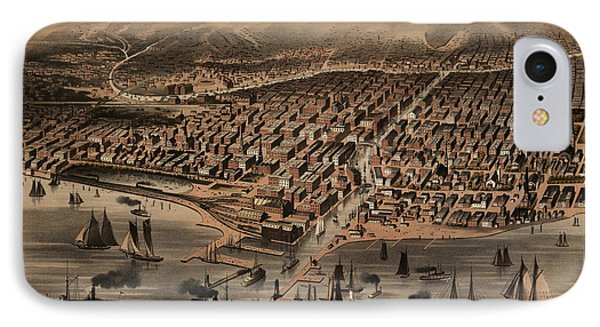 Antique Map Of Chicago Illinois As It Appeared In 1871 Before The Fire IPhone Case