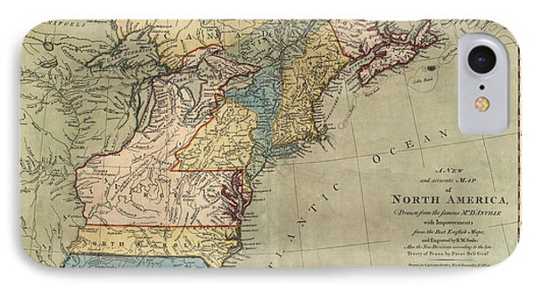 Antique Map Of Colonial America By Peter Bell - 1771 IPhone Case