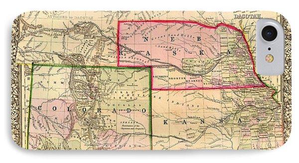 Antique Map Of Colorado Nebraska And Kansas 1860 IPhone Case