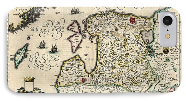 IPhone Case featuring the drawing Antique Map Of Estonia Latvia And Lithuania By Willem Janszoon Blaeu - 1647 by Blue Monocle