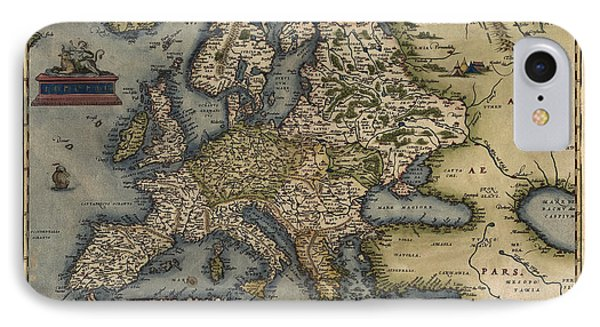 Antique Map Of Europe By Abraham Ortelius - 1570 Phone Case by Blue Monocle
