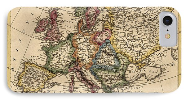 Antique Map Of Europe By Fielding Lucas - Circa 1817 Phone Case by Blue Monocle