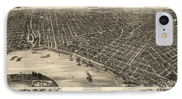 Antique Map Of Evansville Indiana By H. Wellge - 1888 IPhone Case by Blue Monocle