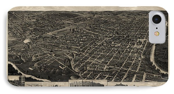 Antique Map Of Fort Worth Texas By H. Wellge - 1886 IPhone Case