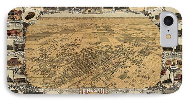 Antique Map Of Fresno California By L. W. Klein - 1901 IPhone Case