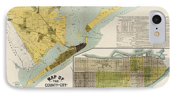 Antique Map Of Galveston Texas By The Island City Abstract And Loan Co. - 1891 IPhone Case by Blue Monocle