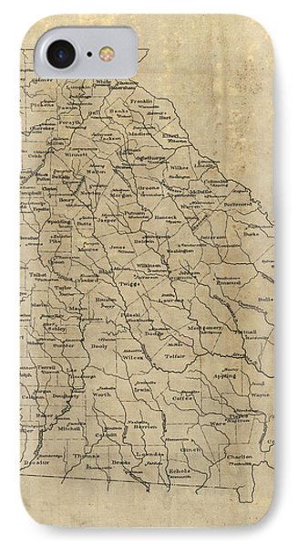 IPhone Case featuring the drawing Antique Map Of Georgia - 1893 by Blue Monocle