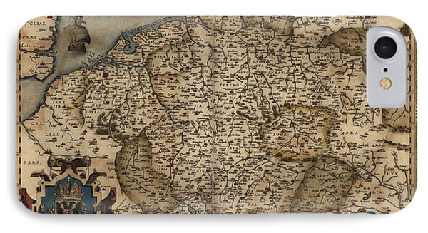 Antique Map Of Germany By Abraham Ortelius - 1570 IPhone Case