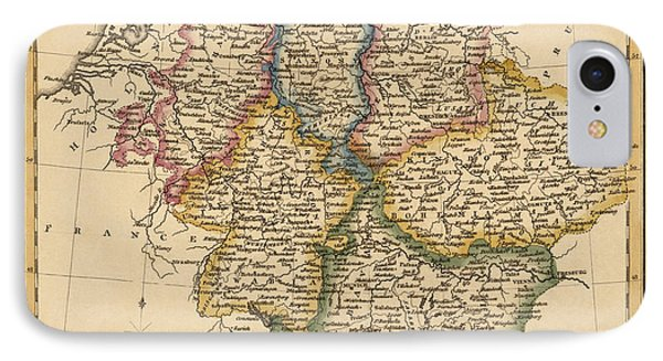 Antique Map Of Germany By Fielding Lucas - Circa 1817 IPhone Case by Blue Monocle