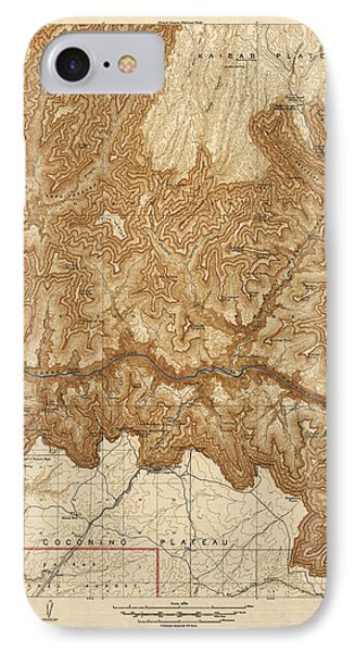 Antique Map Of Grand Canyon National Park - Usgs Topographic Map - 1903 IPhone Case