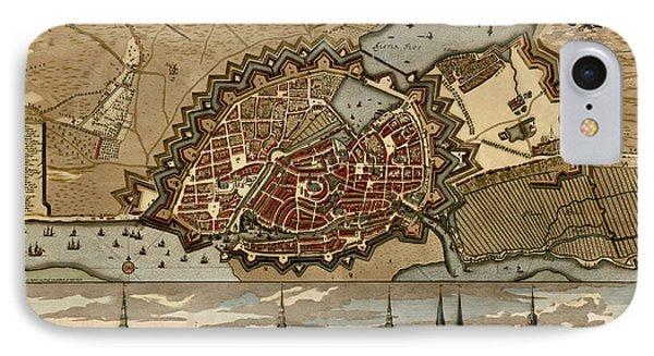 Antique Map Of Hamburg Germany By Pieter Schenk - Circa 1702 IPhone Case