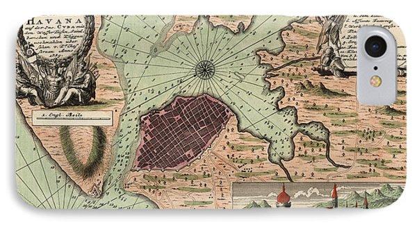 Antique Map Of Havana Cuba By Jacques Nicolas Bellin - 1739 IPhone Case