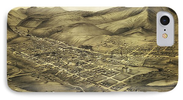 Antique Map Of Helena Montana 1875 IPhone Case by Mountain Dreams