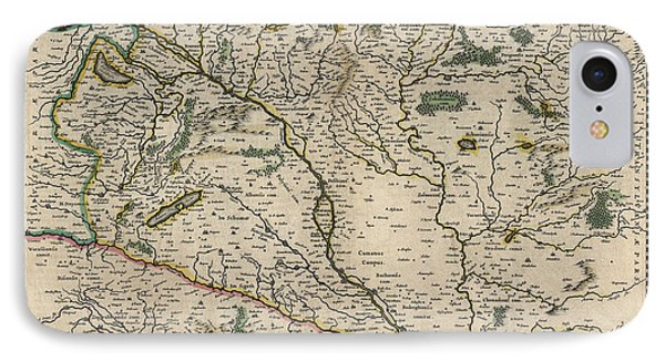 IPhone Case featuring the drawing Antique Map Of Hungary By Willem Janszoon Blaeu - 1647 by Blue Monocle