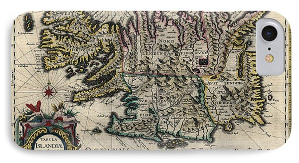 IPhone Case featuring the drawing Antique Map Of Iceland By Willem Janszoon Blaeu - 1647 by Blue Monocle
