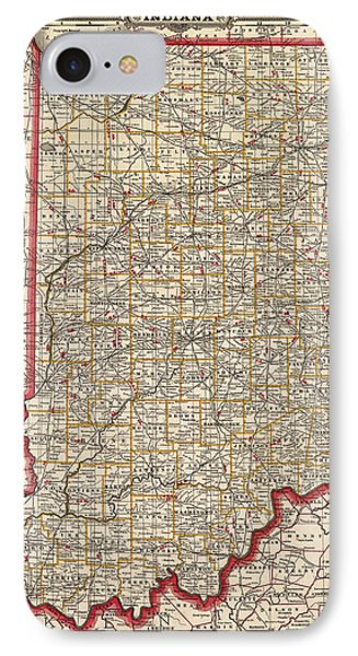 Antique Map Of Indiana By George Franklin Cram - 1888 IPhone Case by Blue Monocle