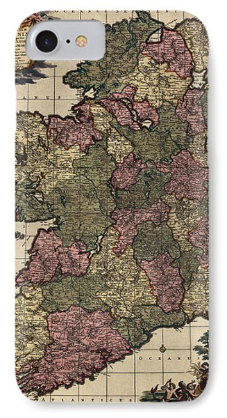 Antique Map Of Ireland By Frederik De Wit - Circa 1700 IPhone Case by Blue Monocle