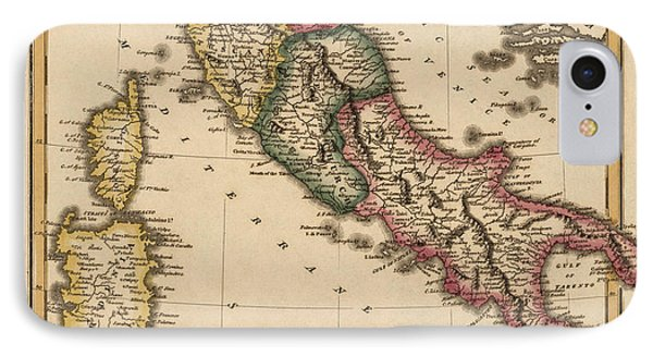 Antique Map Of Italy By Fielding Lucas - Circa 1817 IPhone Case by Blue Monocle