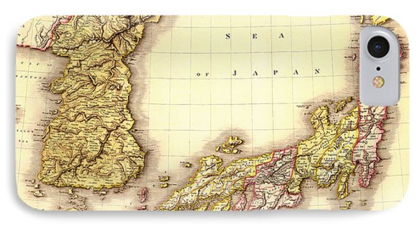 Antique Map Of Japan And Korea 1809 IPhone Case by Mountain Dreams