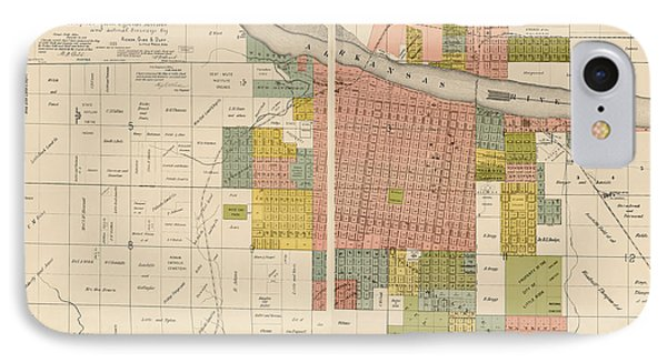 Antique Map Of Little Rock Arkansas By Gibb And Duff Rickon - 1888 Phone Case by Blue Monocle