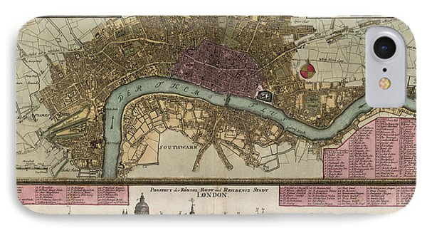 Antique Map Of London England By Johann Baptist Homann - Circa 1750 IPhone Case by Blue Monocle