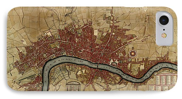 Antique Map Of London England By Robert Morden - 1700 IPhone Case by Blue Monocle