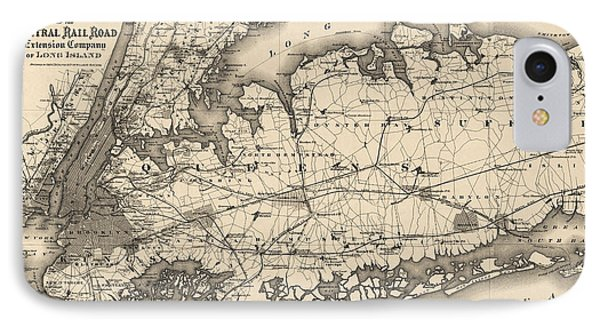 IPhone Case featuring the drawing Antique Map Of Long Island And New York City - 1873 by Blue Monocle