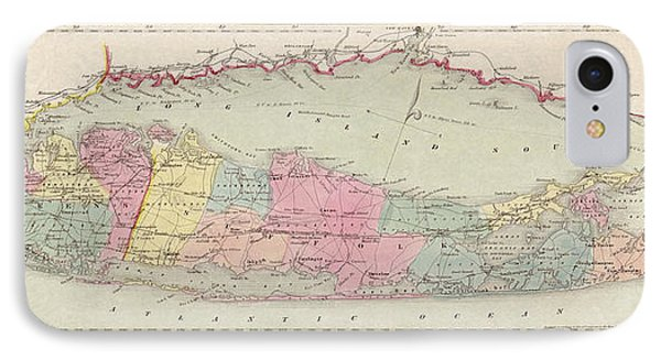 Antique Map Of Long Island By J.h. Colton And Co. - 1857 IPhone Case by Blue Monocle