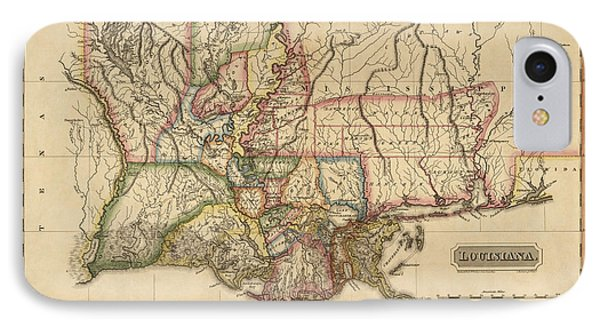 Antique Map Of Louisiana By Fielding Lucas - Circa 1817 IPhone Case