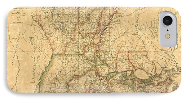 IPhone Case featuring the drawing Antique Map Of Louisiana By John Melish - 1820 by Blue Monocle