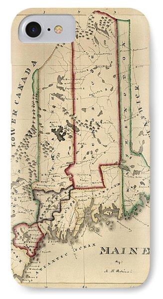 Antique Map Of Maine By A. T. Perkins - Circa 1820 IPhone Case by Blue Monocle