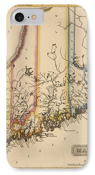 Antique Map Of Maine By Fielding Lucas - Circa 1817 IPhone Case by Blue Monocle