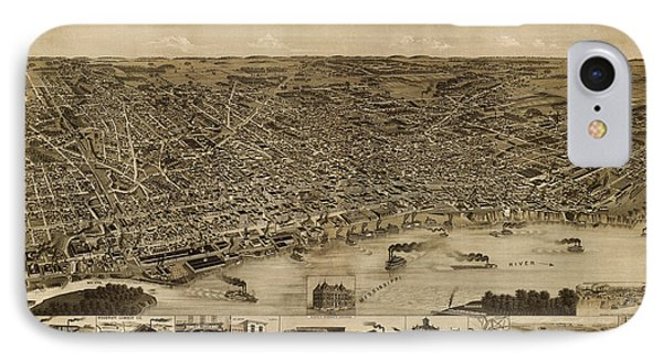 Antique Map Of Memphis Tennessee By H. Wellge - 1887 IPhone Case