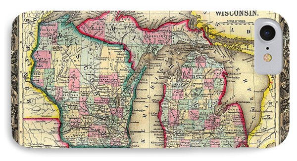 Antique Map Of Michigan And Wisconsin 1860 IPhone Case