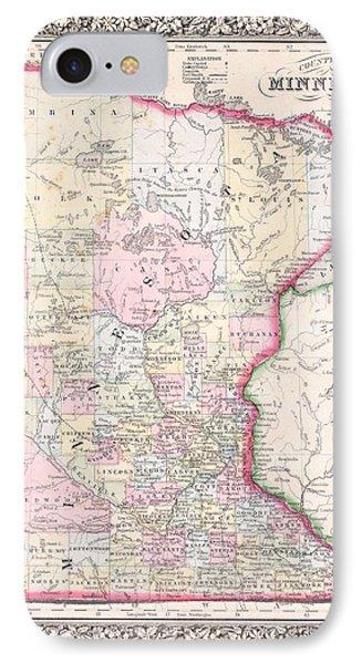 Antique Map Of Minnesota 1864 IPhone Case