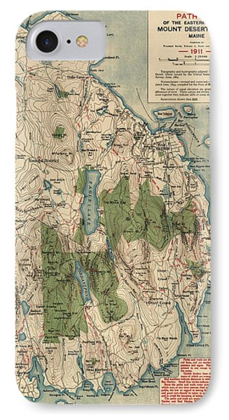 Antique Map Of Mount Desert Island - Acadia National Park - By Waldron Bates - 1911 Phone Case by Blue Monocle