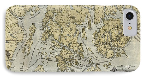 Antique Map Of Mount Desert Island And The Coast Of Maine - Circa 1900 Phone Case by Blue Monocle