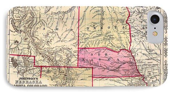 Antique Map Of Nebraska Dakota Colorado Idaho And Kansas 1863 IPhone Case
