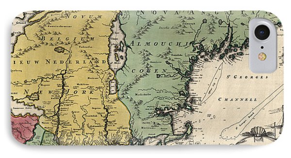 Antique Map Of New England By Johann Baptist Homann - Circa 1760 IPhone Case by Blue Monocle
