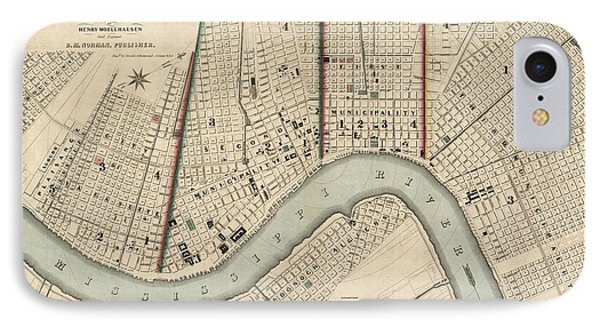 Antique Map Of New Orleans By Balduin Mollhausen - 1845 IPhone Case by Blue Monocle
